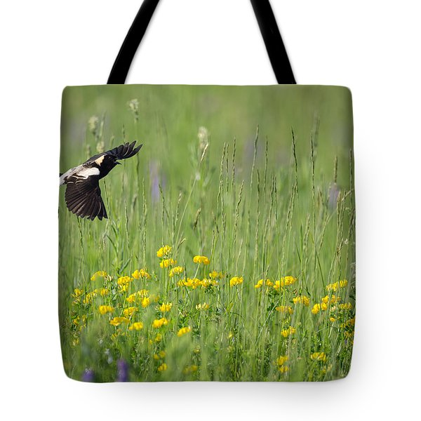 Tote Bag featuring the photograph Bobolink In Paradise by Bill Wakeley