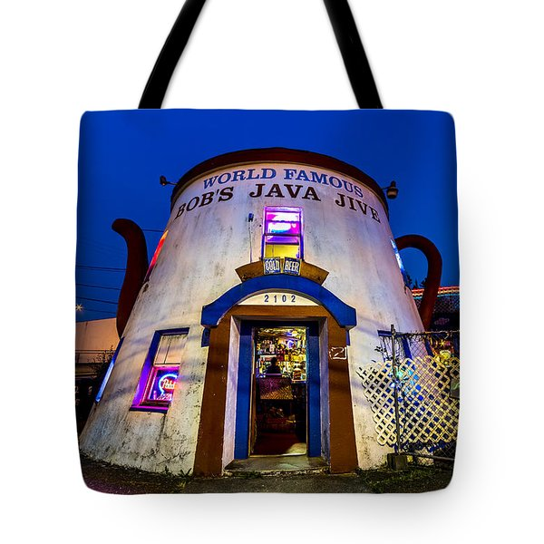 Bob's Java Jive - Historic Landmark During Blue Hour Tote Bag