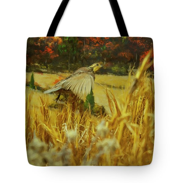 Tote Bag featuring the digital art Bobwhite In Flight by Chris Flees