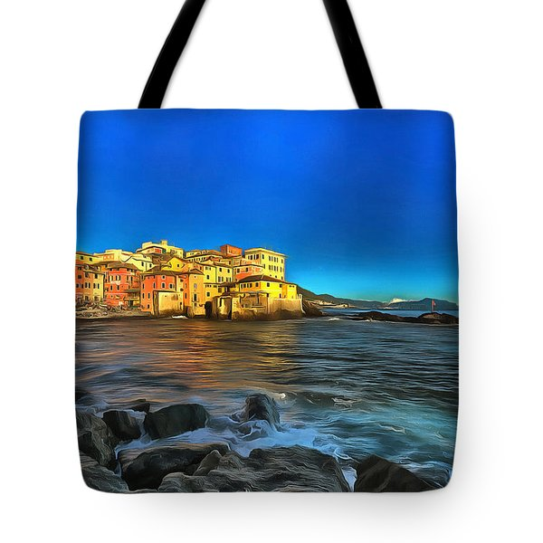Tote Bag featuring the photograph Boccadasse Beach On An Autumn Bright Sunny Day by Enrico Pelos