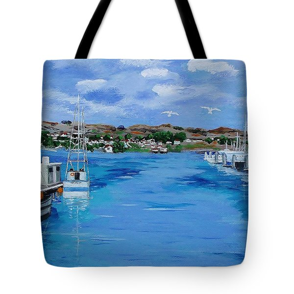 Bodega Bay From Spud Point Marina Tote Bag by Mike Caitham