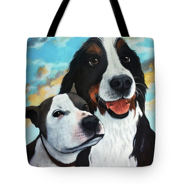 Bodhi And Lily  Pet Portrait Tote Bag