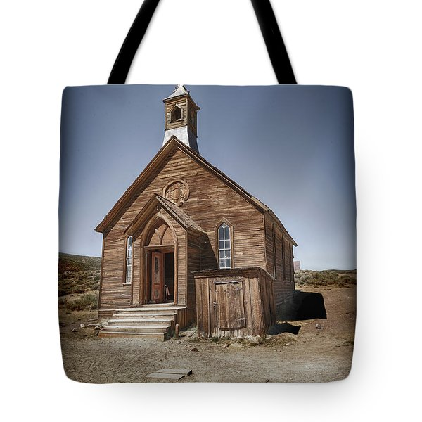 Tote Bag featuring the photograph Bodie Church by Jim  Hatch
