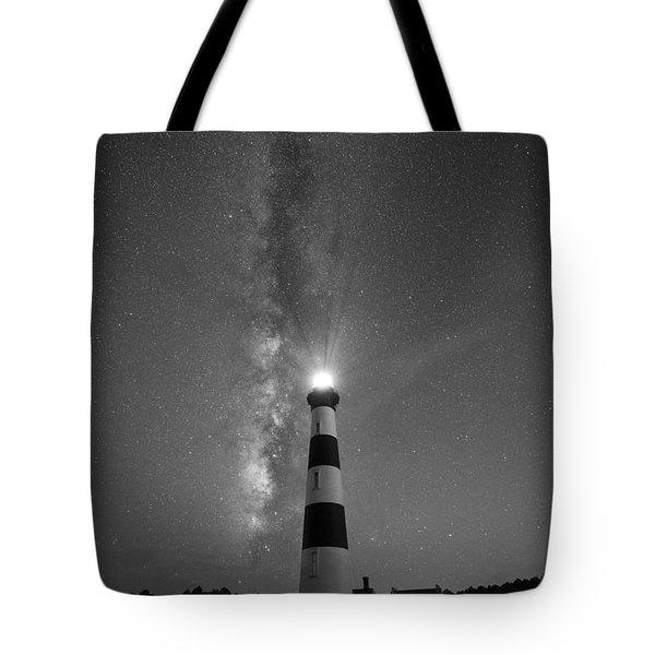 Bodie Island Light Milky Way Portrait Bw Tote Bag