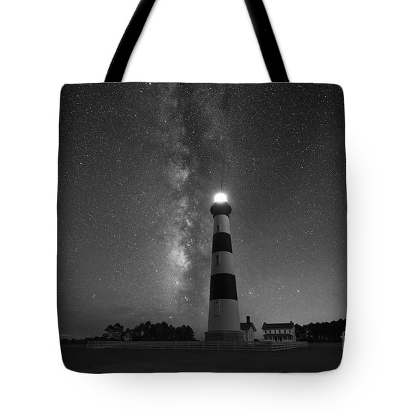 Bodie Island Lighthouse Milky Way Bw Tote Bag