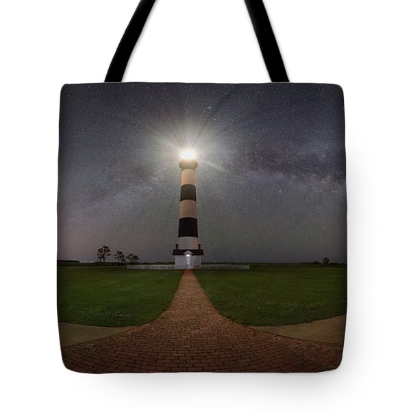 Bodie Island Lighthouse Milky Way Pano Tote Bag