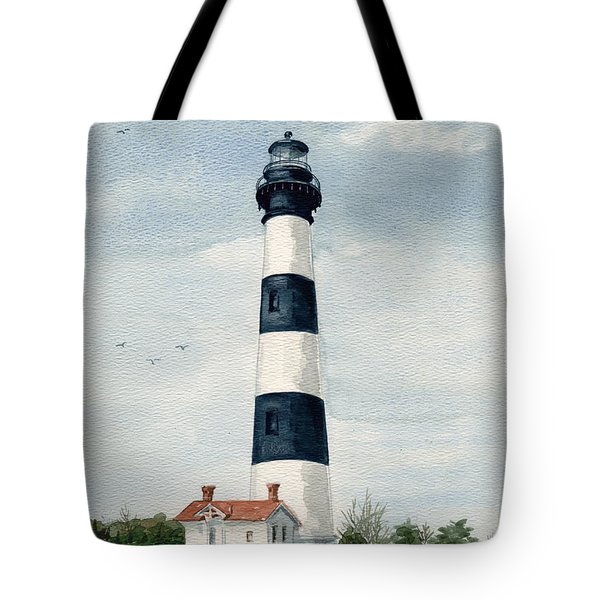 Tote Bag featuring the painting Bodie Island Lighthouse by Nancy Patterson