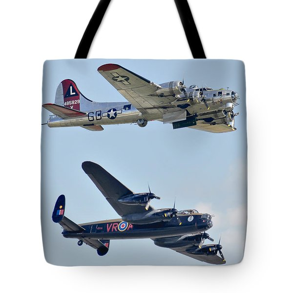 Boeing B-17g Flying Fortress And Avro Lancaster Tote Bag