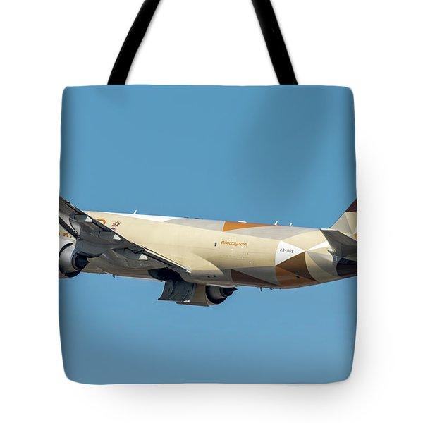 Boeing B777 Ethiad Cargo In A Blue Sky Tote Bag