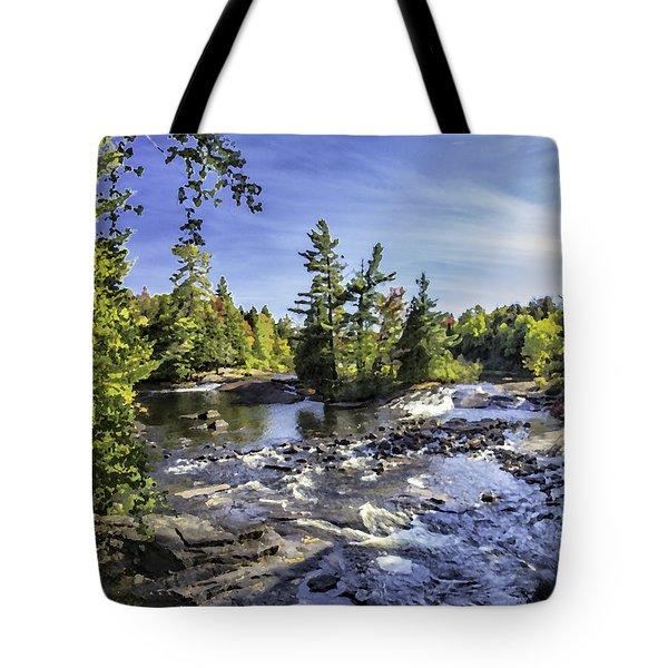 Bog River Falls Panorama Abstract 01 Tote Bag