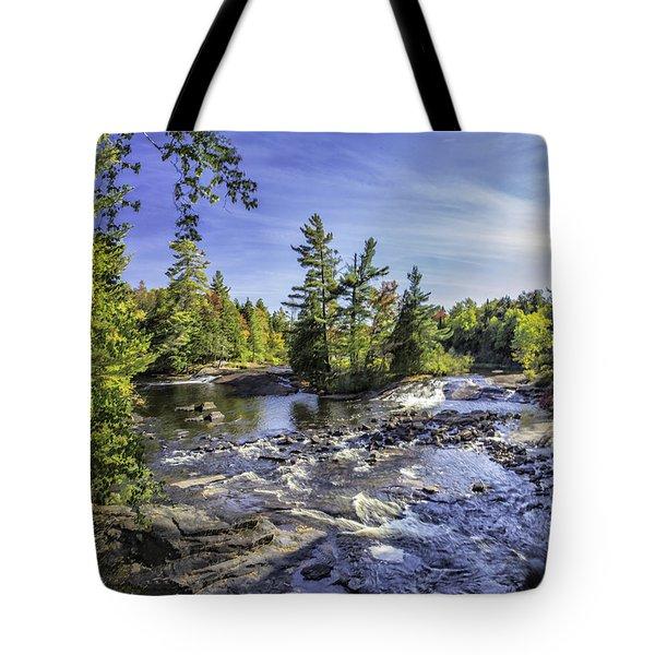 Bog River Falls Panorama Abstract 02 Tote Bag