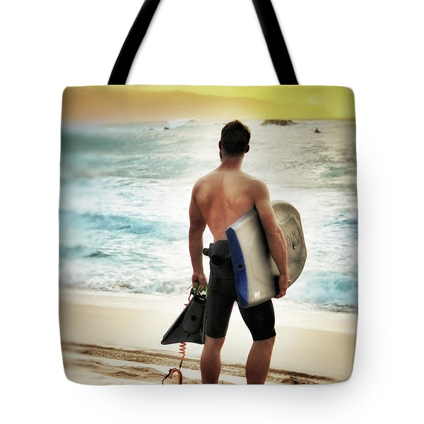 Tote Bag featuring the photograph Boggie Boarder At Waimea Bay by Jim Albritton