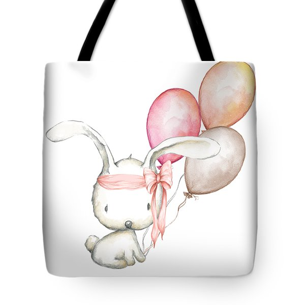 Boho Bunny With Balloons Tote Bag