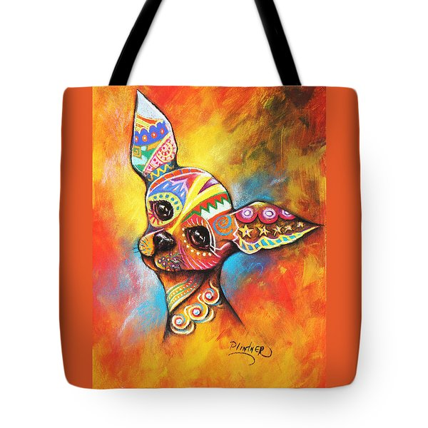 Tote Bag featuring the drawing Chihuahua by Patricia Lintner