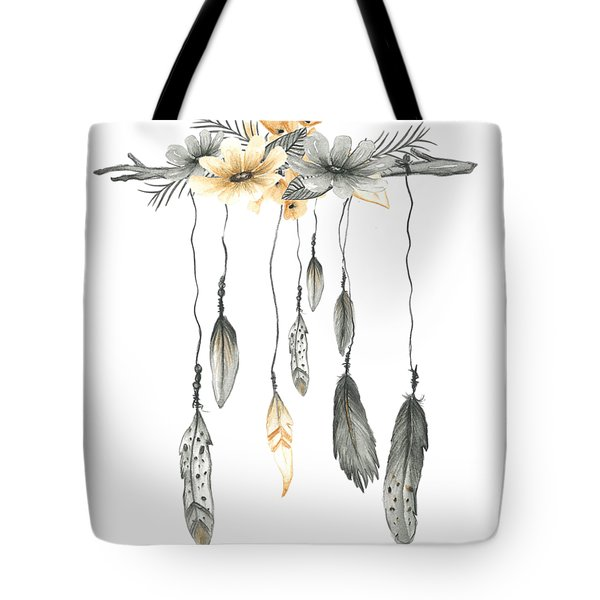Boho Feathers Floral Branch Tote Bag