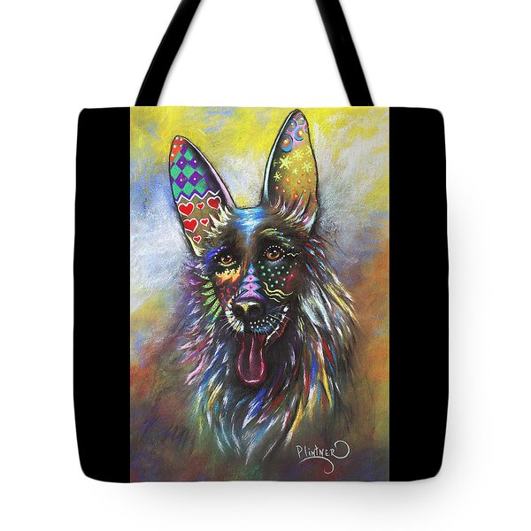 Tote Bag featuring the mixed media German Shepherd by Patricia Lintner