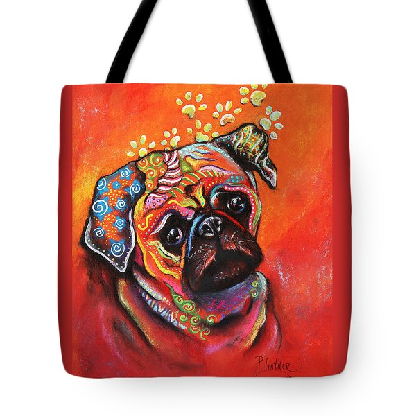 Tote Bag featuring the mixed media Pug by Patricia Lintner