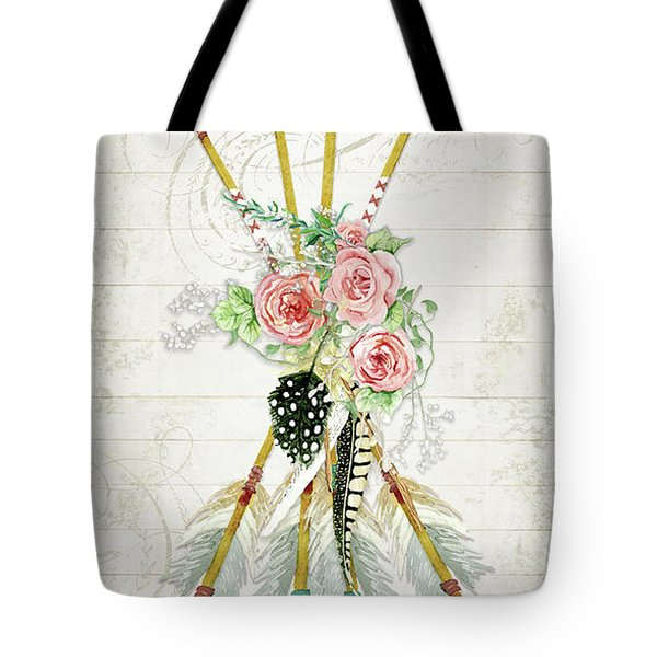 Tote Bag featuring the painting Boho Western Arrows N Feathers W Wood Macrame Feathers And Roses Aim High by Audrey Jeanne Roberts