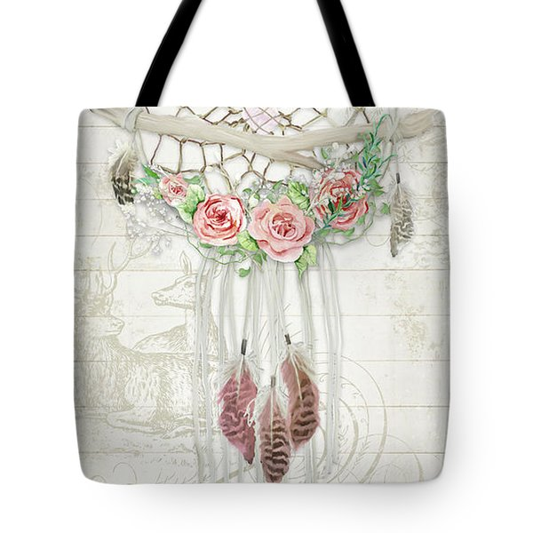 Tote Bag featuring the painting Boho Western Dream Catcher W Wood Macrame Feathers And Roses Dream Beautiful Dreams by Audrey Jeanne Roberts