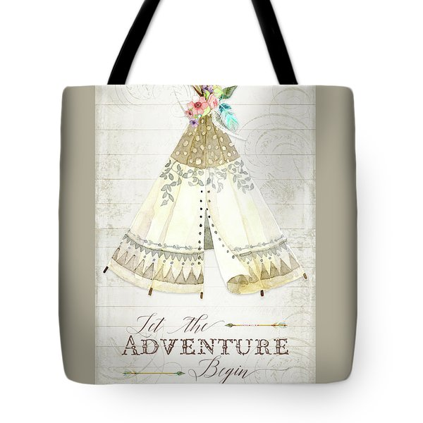 Tote Bag featuring the painting Boho Western Teepee With Arrows N Feathers W Wood Tribal Border by Audrey Jeanne Roberts
