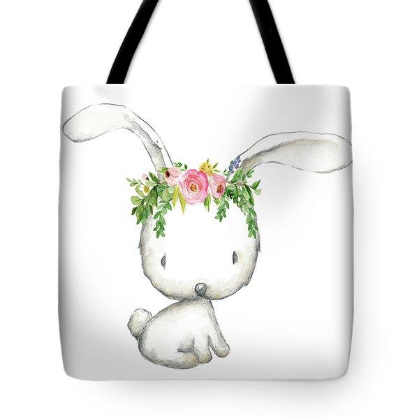Boho Woodland Bunny Floral Watercolor Tote Bag