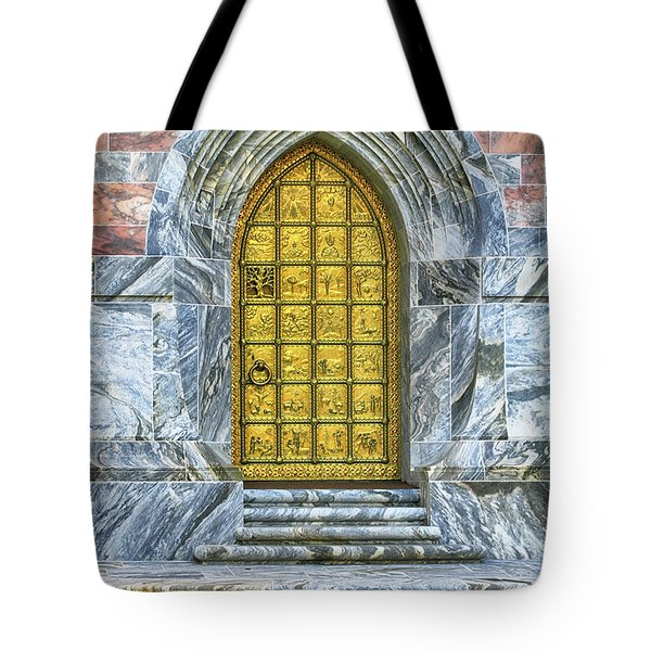 Tote Bag featuring the photograph Bok Tower Door by Deborah Benoit