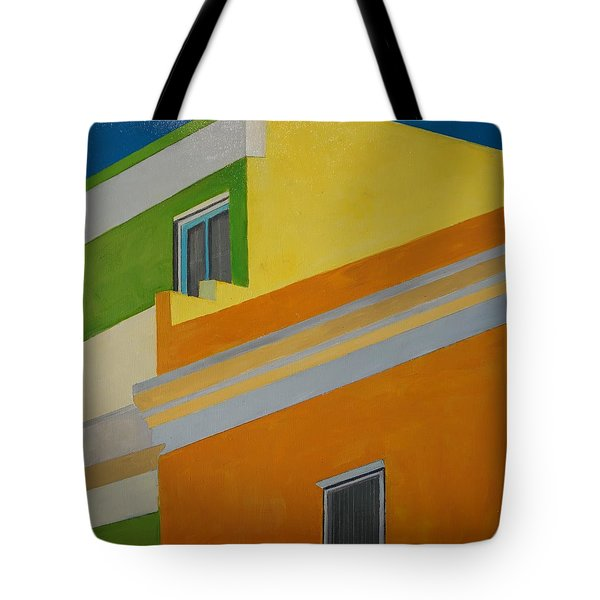 Tote Bag featuring the painting Bokaap Green by Jillian Goldberg