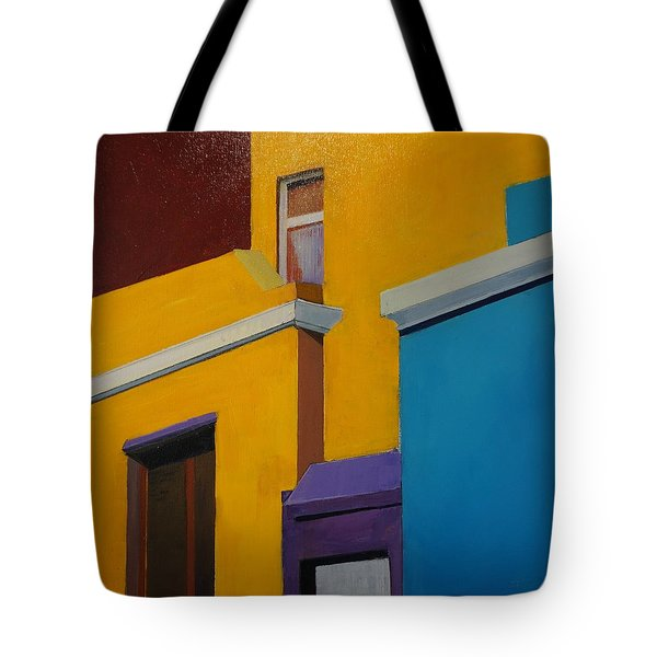Tote Bag featuring the painting Bokaap Indian Yellow by Jillian Goldberg