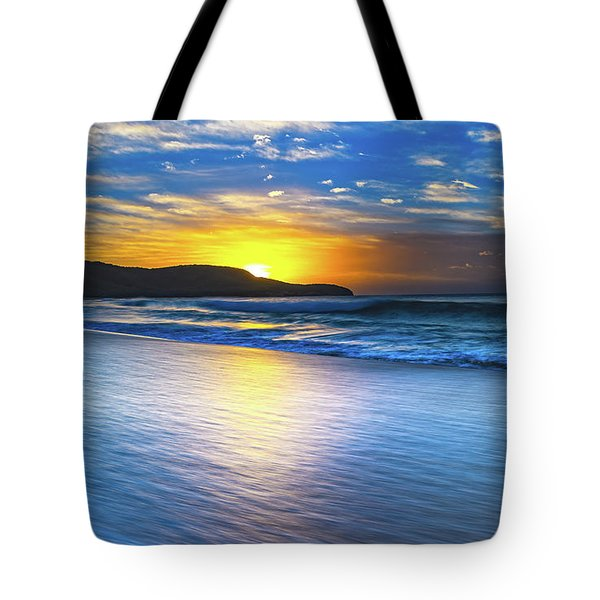 Bold And Blue Sunrise Seascape Tote Bag