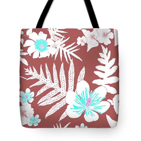 Bold Fern Floral - Dusty Cedar Tote Bag