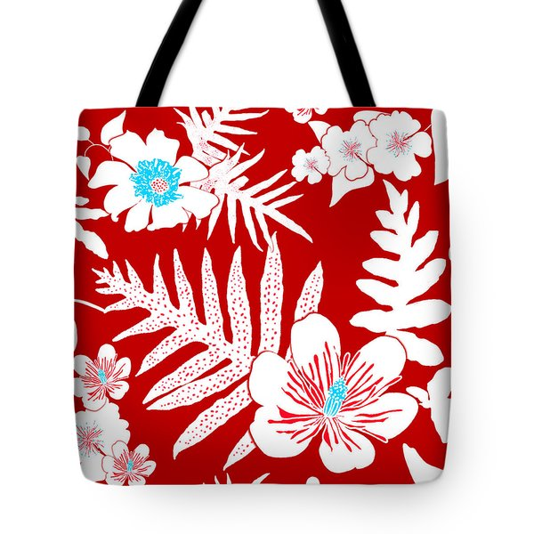 Bold Fern Floral - Red Tote Bag