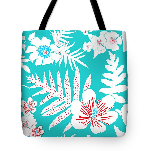 Bold Fern Floral - Turquoise Tote Bag