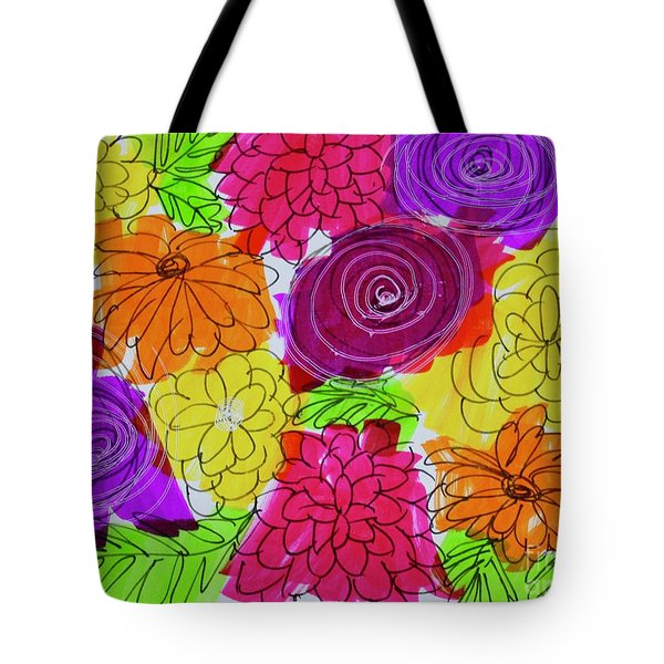 Tote Bag featuring the painting Bold Flowers by Kim Nelson