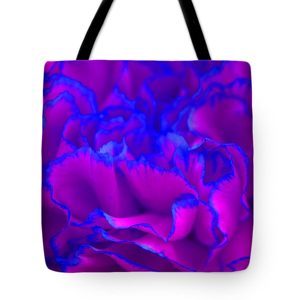 Tote Bag featuring the photograph Bold Fuschia Pink And Blue Carnation Flower by Shelley Neff