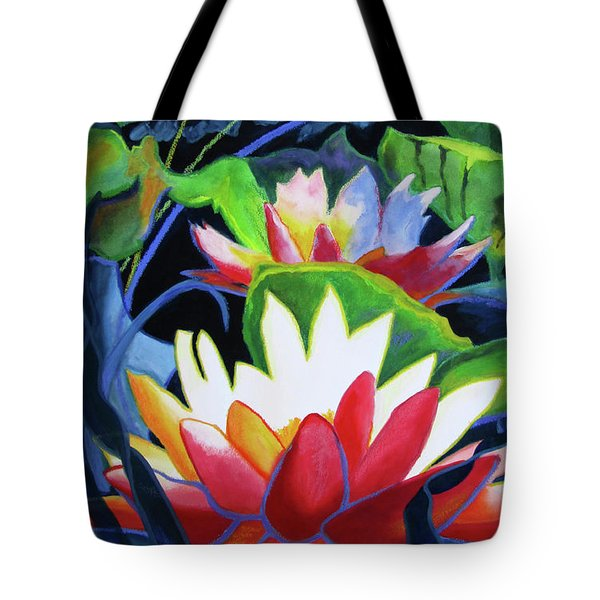 Tote Bag featuring the painting Bold Lilypads by Kathy Braud