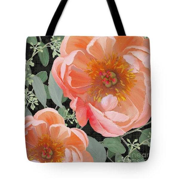 Bold Peony Seeded Eucalyptus Leaves Tote Bag by Audrey Jeanne Roberts