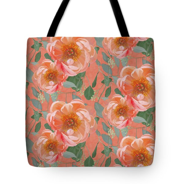 Bold Peony Seeded Eucalyptus Leaves Repeat Pattern Tote Bag