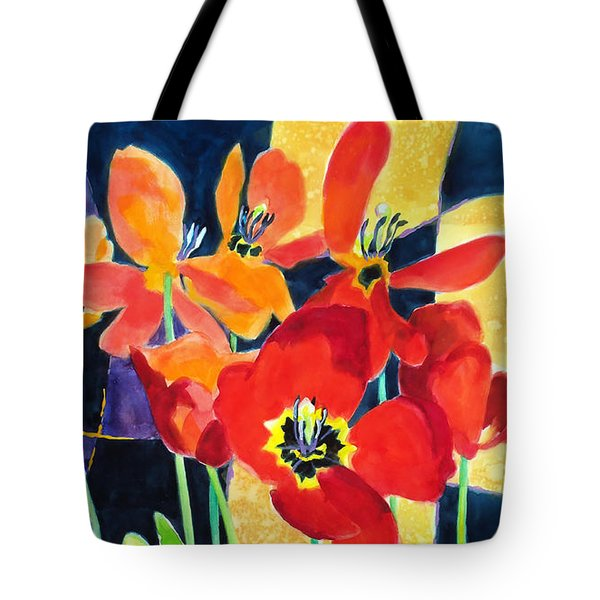 Bold Quilted Tulips Tote Bag by Kathy Braud