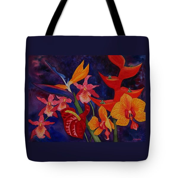 Tote Bag featuring the painting Bold Tropical Flowers by Kerri Ligatich
