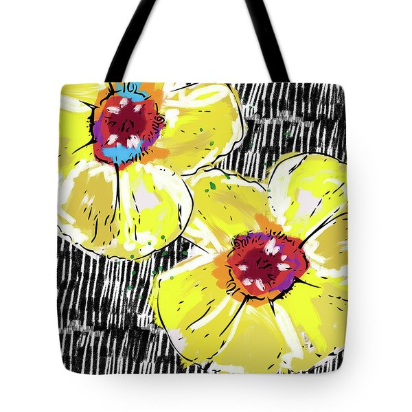 Tote Bag featuring the mixed media Bold Yellow Poppies- Art By Linda Woods by Linda Woods