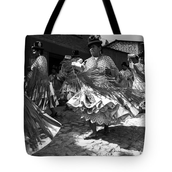 Bolivian Dance Black And White Tote Bag