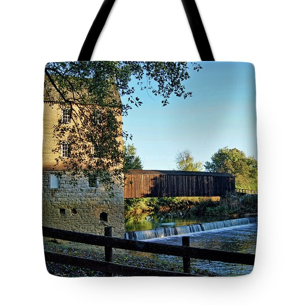 Tote Bag featuring the photograph Bollinger Mill And Bridge by Cricket Hackmann