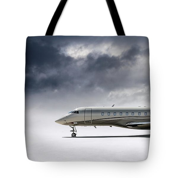 Tote Bag featuring the digital art Bombardier Global 5000 by Douglas Pittman