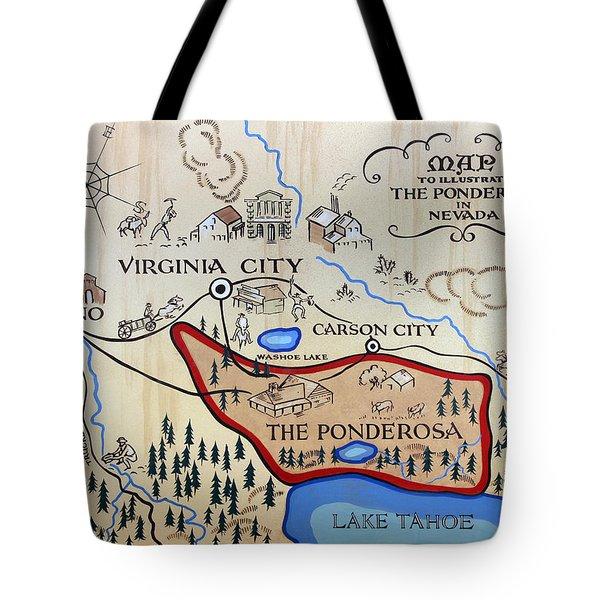 Bonanza Series Ponderosa Map  1959 Tote Bag