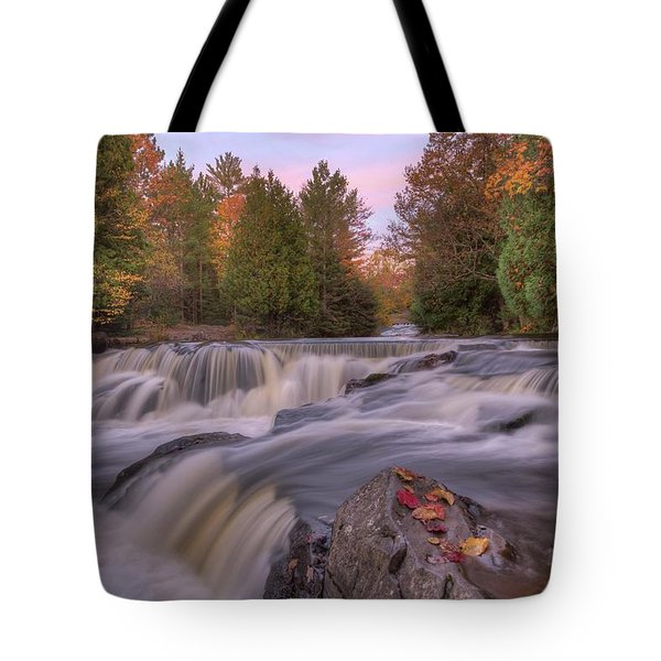 Tote Bag featuring the photograph Bond Falls Sunset by Paul Schultz
