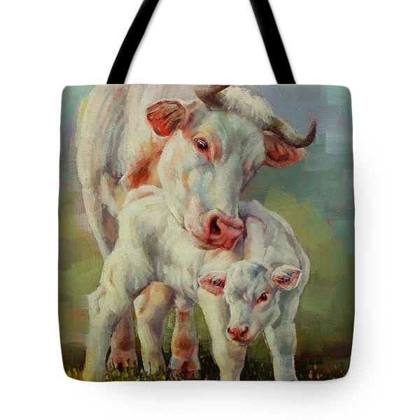 Bonded Cow And Calf Tote Bag by Margaret Stockdale