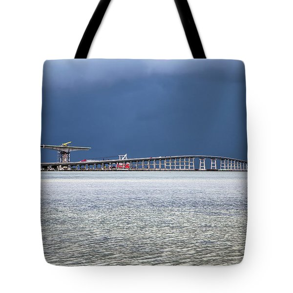 Tote Bag featuring the photograph Bonner Bridge Replacement by Alan Raasch