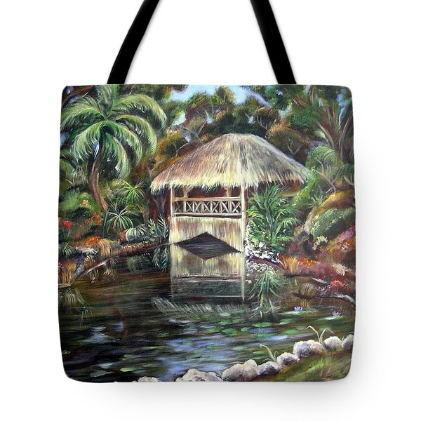 Tote Bag featuring the painting Bonnet House Chickee by Patricia Piffath
