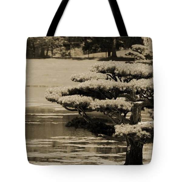Bonsai Tree Near Pond In Sepia Tote Bag