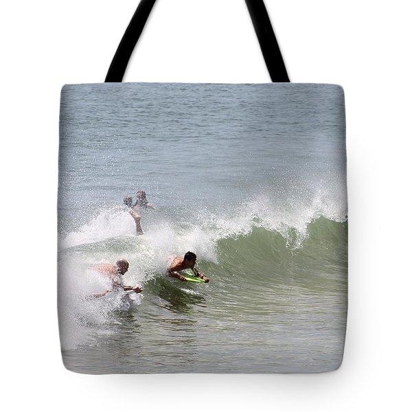 Boogie Boarding Fun Tote Bag by Robert Banach